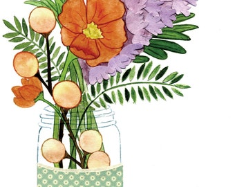 Mason Jar Floral Poppy Orange Green Violet Centerpiece - Print of Original Painting Collage by Paper Taxi