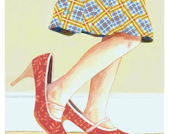 Girl Child Dress Up Cut Paper Red Shoes Plaid Skirt My Mother's Shoes Fashion  - Print of Original Painting Collage by Paper Taxi