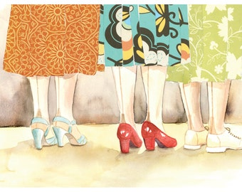 Seamed Stockings Skirt Shoes Watercolor - Print of Original Painting Collage by Paper Taxi