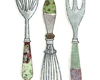 Whisk Kitchen Spoon Cut Paper Kitchen Art - Scoop, Stir, Spear - Large Print of Original Painting Collage by Paper Taxi