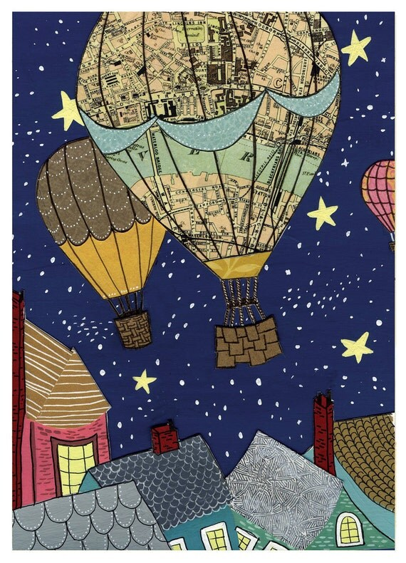 Hot Air Balloon Night Sky rooftops stars map - Large Print of Original Painting Collage by Paper Taxi