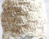 Khaki Newborn Crochet Scallop Beanie with Earflaps. Newborn Size Ready to Ship