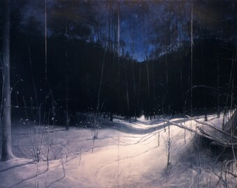 """Landscape painting of a snowy path in the woods in winter with the night sky. """"Starry, Moonlit, Deep Winter Night."""" 78"""" x 120""""."""