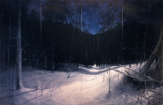 "Landscape painting of a snowy path in the woods in winter with the night sky. ""Starry, Moonlit, Deep Winter Night."" 78"" x 120""."
