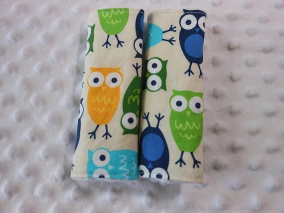 Blue Owls Infant/Toddler Reversible Car Seat Strap Covers (Choice of minky)