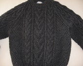 Dark Grey Aran (Irish Fisherman) Sweater - Boys 6-7