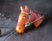 Vintage Bakelite Overdyed Horse Head Pin 1940s Jewelry