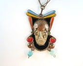 Vintage Mexico Necklace Copper Aztec Mayan King Pendant Colorful Enamel Accents Amazing