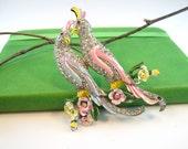 Unsigned Coro Love Birds Vintage Brooch Figural Pave Rhinestones Enamel Flowers 1940s
