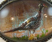 Vintage Pheasant Butterfly Wing Pin Brooch Reverse Carved Intaglio Goofus Glass Painted Detail