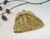 Gold Mesh Purse Glomesh Coin Purse Germany Embossed1930s Art Deco Vintage Accessory