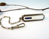 Art Deco Enamel Belt Slide Accessory Watch Knife Key Chain Blue White Yellow Enamel 1930s Railroad