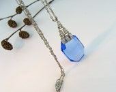 Art Deco Necklace Blue Glass Stepped Architectural Rhinestone Paste Vintage 1920s Jewelry
