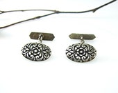 Antique Victorian Cuff Links Unisex Chased Silver Scroll and Flower Design Oval Shape 1800s Jewelry