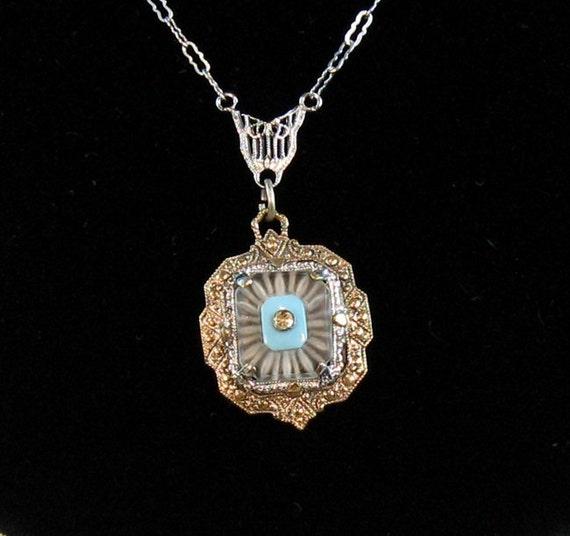 Art Deco Camphor Glass Vintage Necklace Rhodium Filigree Gold & Turquoise Accents