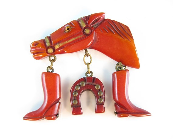 RESERVED FOR D // Bakelite Race Horse Pin with Lucky Horseshoe & Boots Charms Over-dyed Gilt Finish 1940s