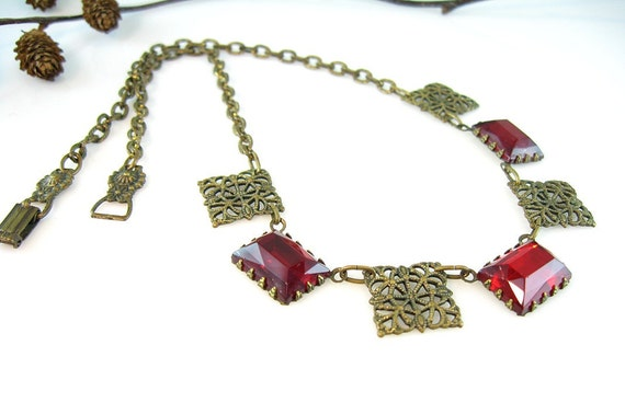 Art Deco Necklace Czech Vauxhall Glass and Brass Filigree 1930's Red Mirrored Glass