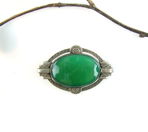 RESERVED FOR M//  Art Deco Sterling Green Chrysoprase Vintage Brooch Geometric Machine Age Apple Green 1930s Pin