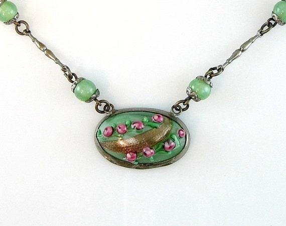 Venetian Art Deco Vintage Necklace Pink Rosebuds Green with Aventurine Wedding Cake Beads 1930s