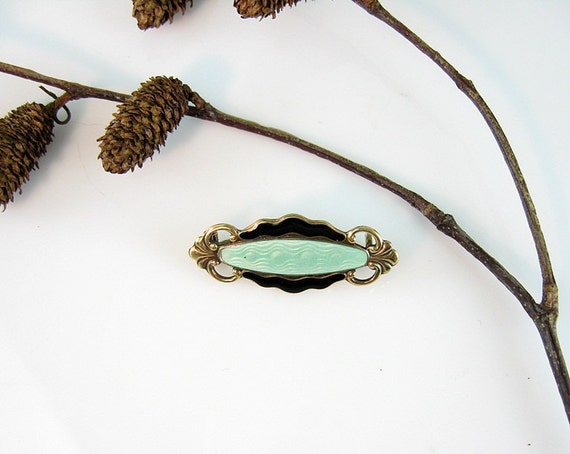 Art Deco Enamel Pin Norway Sterling Silver Pale Green with Black and Gilt 1930s Jewelry