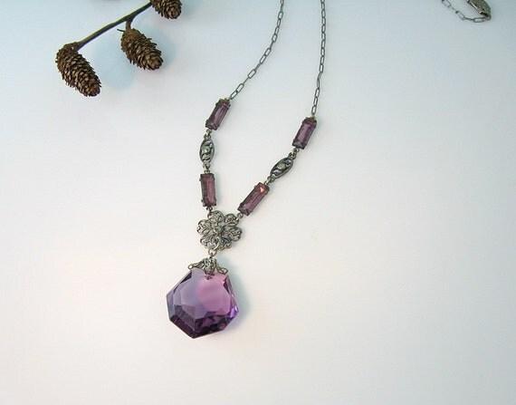 Vintage Art Deco Necklace Amethyst Glass Marcasites Filigree Flower Baguettes Paper Clip Chain 1930s