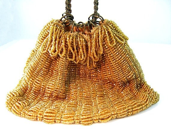Vintage Beaded Evening Purse Gold Seed Beads Fringed Cinch Closure Victorian Revival Style 1940s