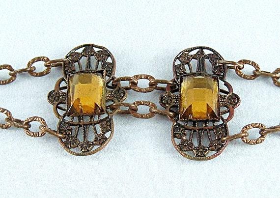 Antique Victorian Bohemian Foiled Citrine Glass Bracelet