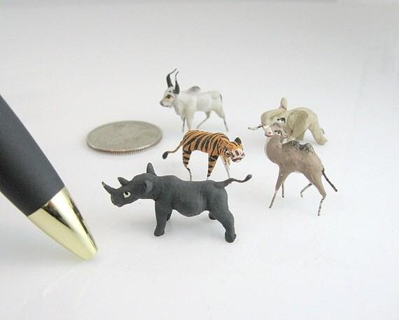 Miniature Animals Handmade Hand Painted Mini Zoo Vintage Figurals Set 5 Altered Art Doll House