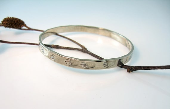Taxco Silver Bracelet Mexico Hand Print Bangle Right Hand Hand Wrought Presence of Man