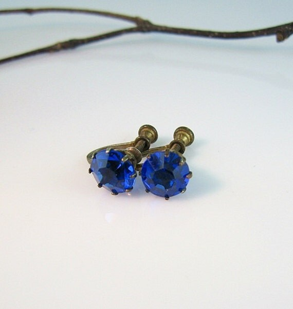 Vintage Sapphire Blue Earrings 1930s Art Deco Jewelry Sterling Gilt Screw Backs Cobalt Solitaire