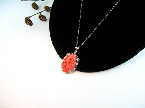 Art Deco Celluloid Floral Pendant Necklace Coral Color & Pearls Silver Filigree Vintage 1930s Jewelry