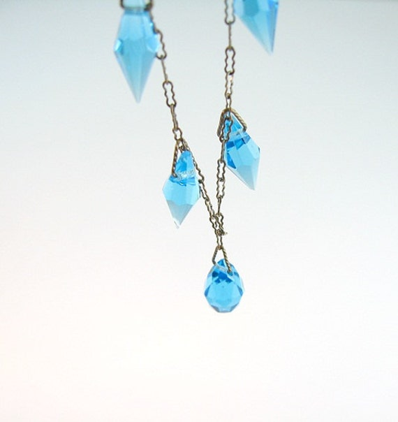 RESERVED FOR K // Art Deco Necklace Deep Aqua Briolette Crystals Silver Tone Peanut Chain Bow Clasp 1930s Jewelry