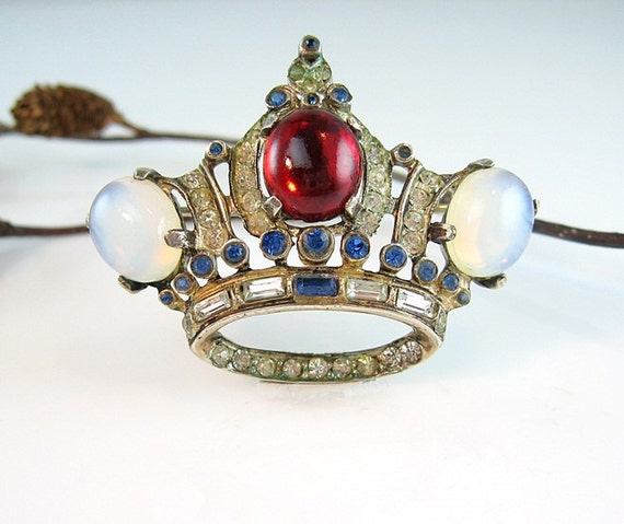 Corocraft Sterling Crown Pin Jeweled Moonstone Ruby Sapphire Queens Jubilee 1940s Jewelry