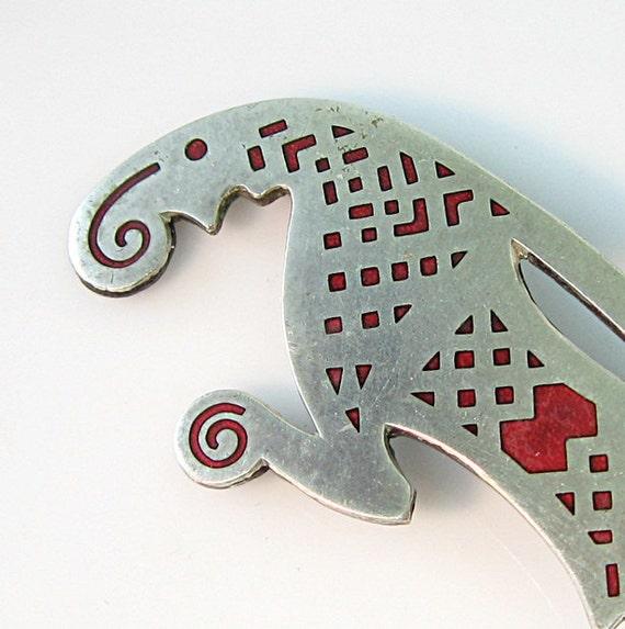 Silver Sweden Valsgärde Shield Ornament Pin Uppsala Mythical Bird Red Enamel Inlay