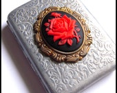 FREE Shipping - Cigarette Case Card Rose Flower Cameo Vintage Steampunk Victorian Brass Antiqued Gold Silver