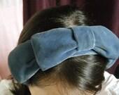1950's Vintage Blue Velvet Headband Fascinator