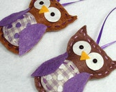 Felt Owl Ornaments Purple Felt Owl Ornaments