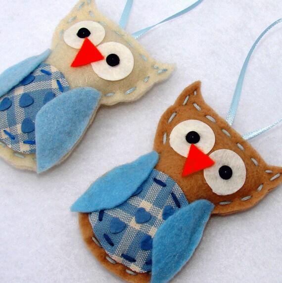 Felt Owl Ornaments Blue Felt Owl Ornaments
