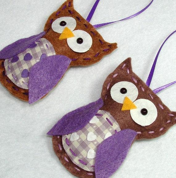 Felt Owl Ornaments Purple Felt Owl Ornaments