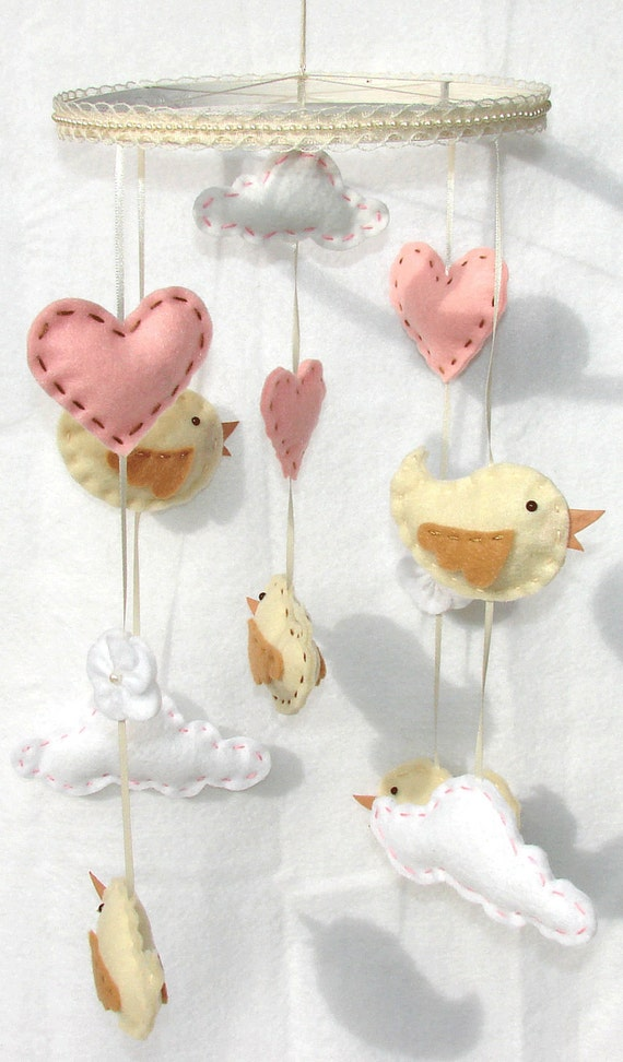 Baby Bird Mobile Princess Bird Clouds Heart Felt Crib Mobile