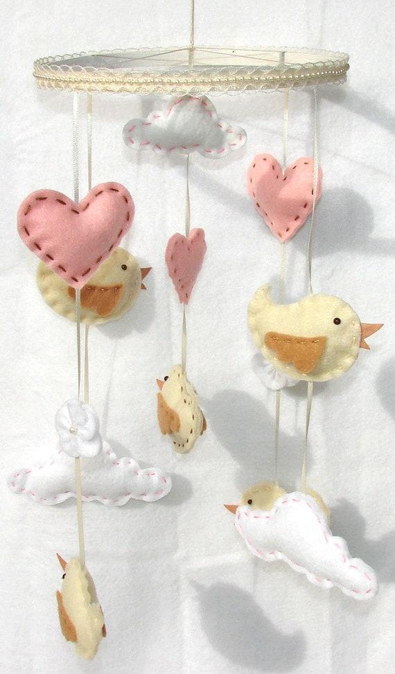 Baby Bird Mobile Princess Bird Clouds Heart Felt Crib Mobile