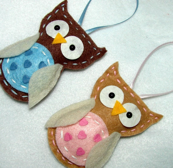 Felt Owl Ornaments Baby Felt Owl Ornaments