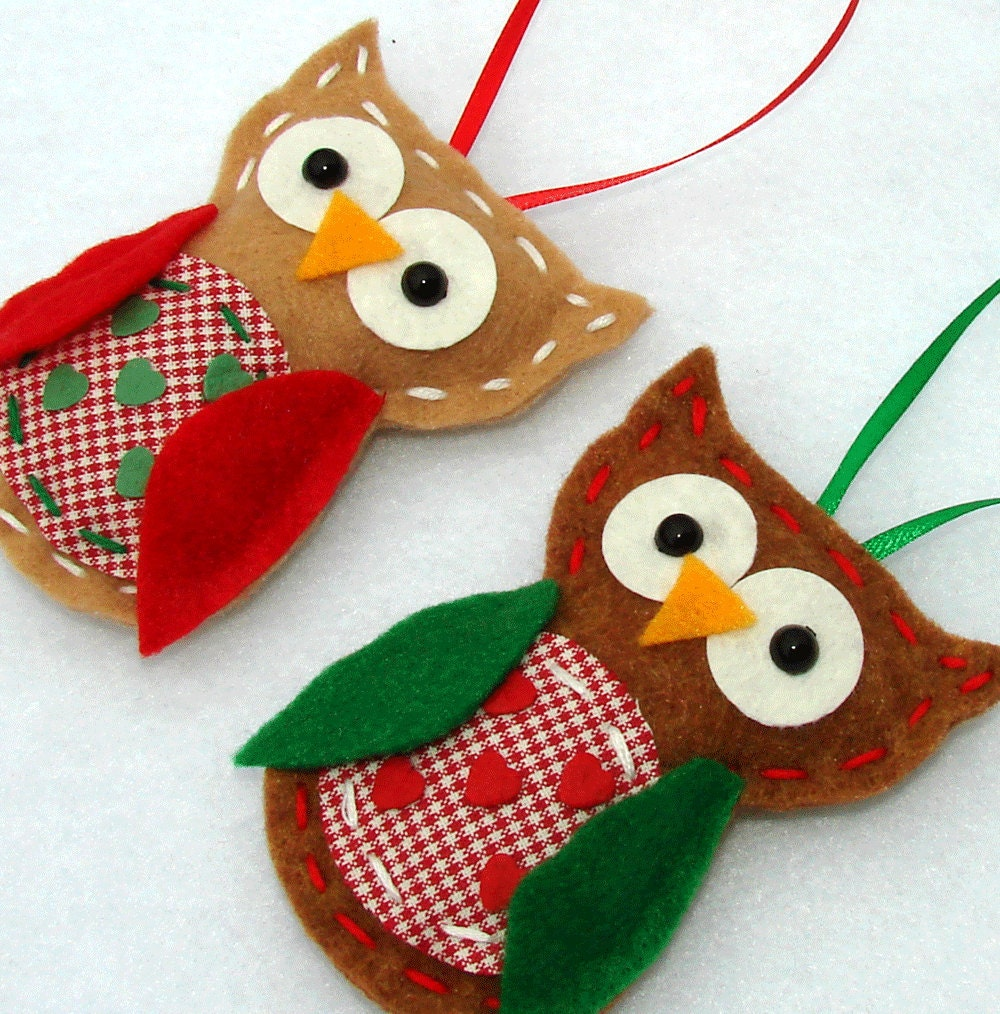 Felt owl ornaments christmas felt owl ornaments by onesunnysunday