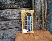 Primitive Pillow - Sheep, Willow and Salt Box - Appliqued and Embroidered