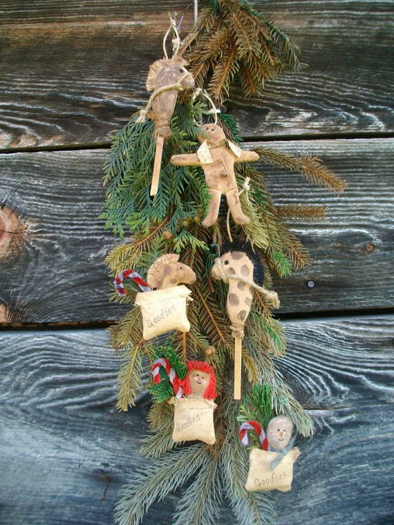 PDF E-Pattern for Primitive Gingerbread Man, Goody Bags and Stick Horse Christmas Ornaments