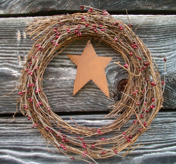 Rustic Country Twig Wreath - Burgundy Pip Berries and Corrugated Rusty Tin Star - Door Hanger