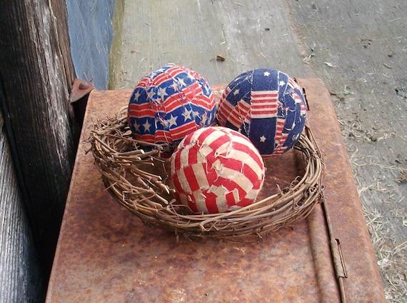 Primitive Americana Rag Balls - Rustic Country Bowl Fillers - Home Decor