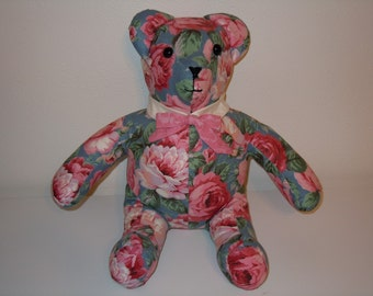 FREE SHIPPING - Rose Covered Teddy Bear