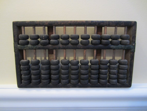 Vintage Woden Abacus Math Calculator