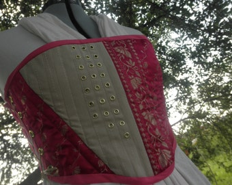 Pink and Tan Asymmetrical Corset with Eyelet Accents